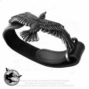 Alchemy Gothic Black Consort Raven Leather Wristband | Gothic Jewellery